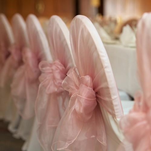 Soft Pink Organza Chair Hoods